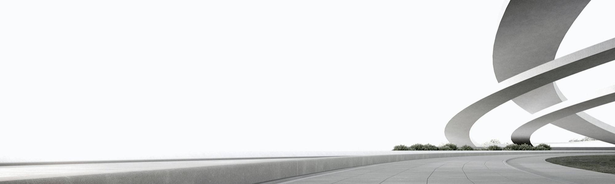 Banner image of a road and a bridge on a white background