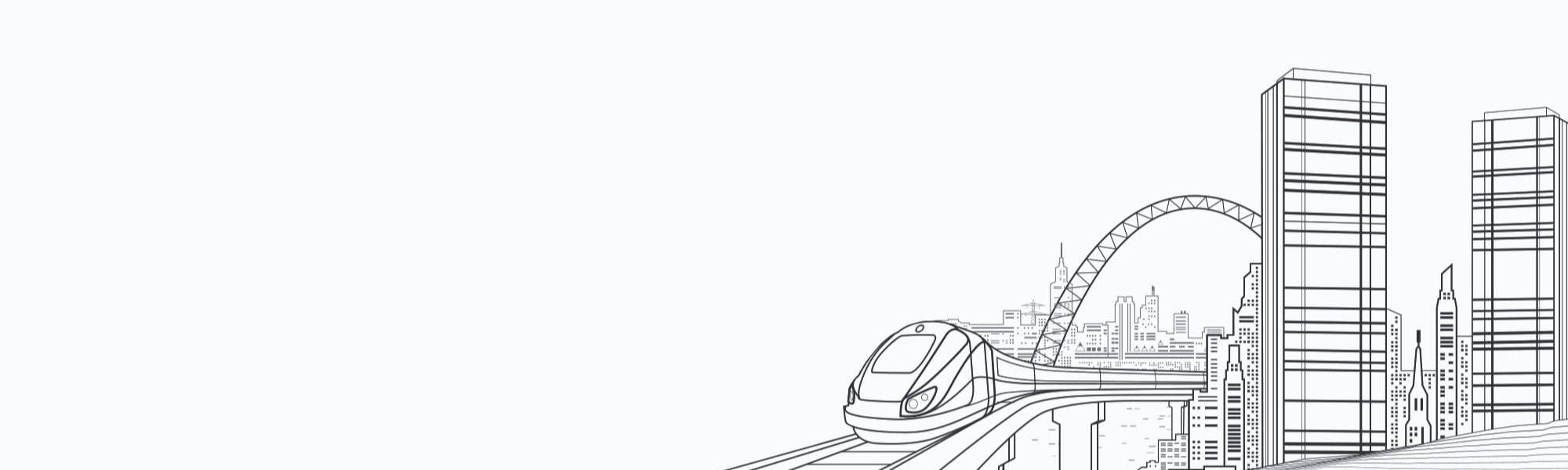 Banner image of line drawn cityscape with train